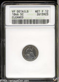 1846 H10C --Cleaned--ANACS. VF Details, Net Fine 12. Unnaturally bright surfaces reveal light hairlines beneath a faint...
