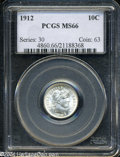 Barber Dimes: , 1912 10C MS66 PCGS. Brilliant and exceptionally struck ...