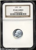 Proof Roosevelt Dimes: , 1951 10C PR68 Cameo NGC. Significant frost on the devices ...