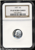 Proof Roosevelt Dimes: , 1957 10C PR69 Ultra Cameo NGC. The icy-white devices ...