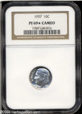 Proof Roosevelt Dimes: , 1957 10C PR69 ★ Cameo NGC. Brilliant except for a few ...