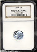 Proof Roosevelt Dimes: , 1958 10C PR68 Ultra Cameo NGC. A brilliant and fully ...