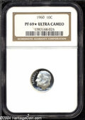 Proof Roosevelt Dimes: , 1960 10C PR69 ★ Deep Cameo NGC. Exquisitely contrasted ...