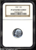 Proof Roosevelt Dimes: , 1961 10C PR69 Deep Cameo NGC. Pure white, at first glance ...