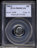 Proof Roosevelt Dimes: , 1968-S 10C PR69 Deep Cameo PCGS. Exquisitely struck, with ...