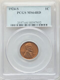 1924-S 1C MS64 Red PCGS. PCGS Population: (87/10). NGC Census: (20/1). CDN: $2,200 Whsle. Bid for NGC/PCGS MS64. Mintage...