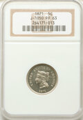 1871 5C 5 Cents, Judd-1050, Pollock-1184, Low R.6, PR63 NGC. NGC Census: (2/9). PCGS Population: (2/12). ...(PCGS# 61309...