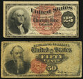 Fractional Currency:Fourth Issue, Fr. 1301 25¢ Fourth Issue Very Fine;. Fr. 1376 50¢ Fourth Issue Stanton Very Good. . ... (Total: 2 notes)