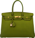 """Luxury Accessories:Bags, Hermès 35cm Vert Anis Togo Leather Birkin Bag with Gold Hardware. H Square, 2004. Condition: 4. 14"""" Width x 10"""" He..."""