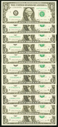 Small Size:Federal Reserve Notes, Partial District Set Fr. 1914-A-H; J-L $1 1988 Federal Reserve Notes. Choice Crisp Uncirculated.. ... (Total: 11 notes)