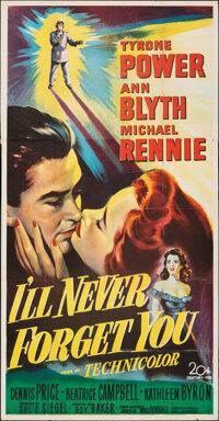 "I'll Never Forget You (20th Century Fox, 1951). Folded, Fine. Three Sheet (41"" X 79""). Drama"