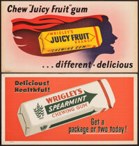 """Wrigley's Gum (Wrigley's, 1950s). Very Fine. Posters (2) (11"""" X 21""""). Advertising. ... (Total: 2 Items)"""