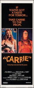 """Movie Posters:Horror, Carrie (United Artists, 1976). Rolled, Very Fine. Insert (14"""" X 36""""). Horror.. ..."""