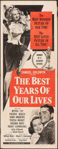 """Movie Posters:Academy Award Winners, The Best Years of Our Lives (RKO, R-1954). Folded, Fine+. Insert (14"""" X 36""""). Academy Award Winners.. ..."""