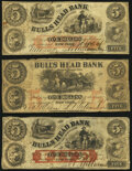Obsoletes By State:New York, New York, NY- Bulls Head Bank Counterfeit $5 (3) 1860-62 C8a; C10c (2) Very Good.. ... (Total: 3 notes)