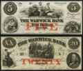 Obsoletes By State:Rhode Island, Warwick, RI- Warwick Bank $5; $20 18__ Remainders G62a; G84a Crisp Uncirculated.. ... (Total: 2 notes)