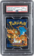"Memorabilia:Trading Cards, Pokémon First Edition Base Set ""Charizard"" Sealed Booster Pack (Wizards of the Coast, 1999) PSA GEM MT 10. ..."