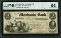 Obsoletes By State:Kansas, Fort Leavenworth, KS (Terr.)- Merchants Bank $2 Aug. 21, 1854 G2 Whitfield Q 130 PMG Choice Uncirculated 64.. ...