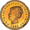 Proof Four Dollar Gold Pieces, 1880 $4 Coiled Hair, Judd-1660, Pollock-1860, JD-1, Low R.7, PR67 Cameo NGC....