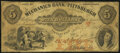 Obsoletes By State:Pennsylvania, Pittsburgh, PA- Mechanics Bank of Pittsburgh $5 July 1, 1856 G6a Very Good-Fine.. ...