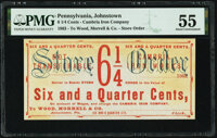 Johnstown, PA- Cambria Iron Works - Wood, Morrel & Co. 6-1/4¢ ___ 1863 Remainder Hoober UNL PMG About Uncircula...