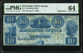 Obsoletes By State:Mississippi, Holley Springs, MS- Exchange Office $10 18__ Remainder PMG Choice Uncirculated 64.. ...