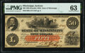 Jackson, MS- State of Mississippi $50 Jan. 19, 1863 Cr. 6b PMG Choice Uncirculated 63
