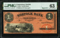 Obsoletes By State:Connecticut, Norfolk, CT- Norfolk Bank $1 18__ Remainder G2a PMG Choice Uncirculated 63.. ...