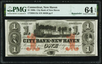 New Haven, CT- City Bank of New Haven $1 Feb. 1, 1865 Remainder G12c PMG Choice Uncirculated 64 EPQ
