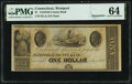 Obsoletes By State:Connecticut, Westport, CT- Unknown Issuer at Fairfield County Bank $1 18__ Remainder UNL PMG Choice Uncirculated 64.. ...