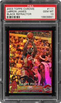 2003 Topps Chrome Lebron James (Black Refractor) #111 PSA Gem Mint 10 - #'d 284/500