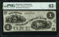 Cumberland, MD- Allegany County Bank $1 June 1, 1861 G2a Shank 30.2.2 PMG Choice Uncirculated 63 EPQ
