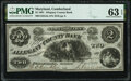 Obsoletes By State:Maryland, Cumberland, MD- Allegany County Bank $2 June 1, 1861 G4a Shank 30.2.4 PMG Choice Uncirculated 63 EPQ.. ...
