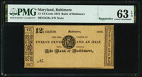 Baltimore, MD- Bank of Baltimore 12-1/2¢ ___ 1816 Remainder G8a Shank 5.5.5 PMG Choice Uncirculated 63 EPQ