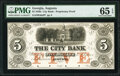 Augusta, GA- City Bank $5 18__ G6a Proprietary Proof PMG Gem Uncirculated 65 EPQ, POCs