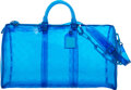 """Luxury Accessories:Bags, Louis Vuitton Limited Edition Blue Monogram PVC Keepall Bandoulière 50 . Condition: 2 . 20"""" Width x 11.5"""" Height x 9"""" ..."""