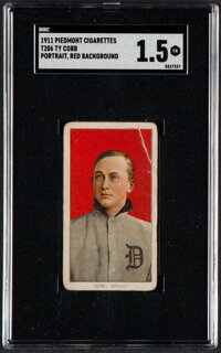 1909-11 T206 Piedmont Ty Cobb (Portrait, Red Background) SGC Fair 1.5