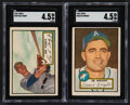 Baseball Cards:Lots, 1952 Topps Baseball High Numbers SGC Graded Pair (2) - Fondy & Wright....