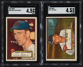 Baseball Cards:Lots, 1952 Topps Baseball High Numbers SGC Graded Pair (2) - Blackwell & Rossi. ...
