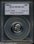 Proof Roosevelt Dimes: , 1980-S 10C PR70 Deep Cameo PCGS. A spectacular proof with ...