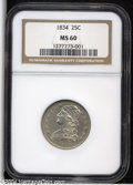 Bust Quarters: , 1834 25C MS60 NGC. B-4, R.1. The 4 in the date is recut, ...
