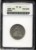Proof Seated Quarters: , 1880 25C PR62 ANACS. Type One Reverse. Well struck with ...