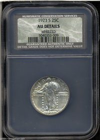 1923-S 25C AU50 Details, Whizzed, NCS. Well struck with subdued luster, two or three tiny contact marks on each side, an...