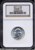 Washington Quarters: , 1937-S 25C MS67 NGC. The satiny lustrous surfaces are ...