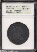 Early Half Dollars: , 1795 50C 2 Leaves--Corroded, Tooled, Cleaned--ANACS. O-...