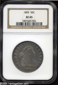 Early Half Dollars: , 1805 50C XF45 NGC. O-111, R.3. A slender extension of the ...