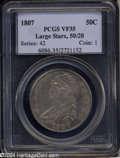 Bust Half Dollars: , 1807 50C Capped Bust, Large Stars 50 Over 20 VF35 PCGS. O-...
