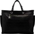 """Luxury Accessories:Bags, Chanel Limited Edition Matte Black Crocodile Paris-Biarritz Large Travel Bag. Condition: 2 . 21"""" Width x 14"""" Height x ..."""