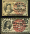 Fractional Currency:Fourth Issue, Fr. 1257 10¢ Fourth Issue Fine;. Fr. 1267 15¢ Fourth Issue Very Fine.. ... (Total: 2 notes)