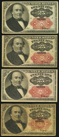 Fractional Currency:Fifth Issue, Fr. 1308 25¢ Fifth Issue Fine;. Fr. 1309 25¢ Fifth Issue Three Examples Very Fine or Better.. ... (Total: 4 notes)